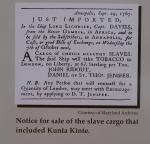 Avisannonse for salg av Kunta Kinte og hans overlevende medpassasjerer